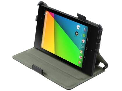 Premium Asus Google Nexus 7 2013 Slim Synthetic Leather Flip Case with Multi-Angle Tilt Stand - Classic Black