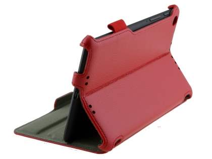 Premium Asus Google Nexus 7 2013 Slim Synthetic Leather Flip Case with Multi-Angle Tilt Stand - Red Leather Flip Case