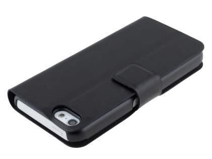 Genuine Leather Portfolio Case with Stand for iPhone 5c - Classic Black
