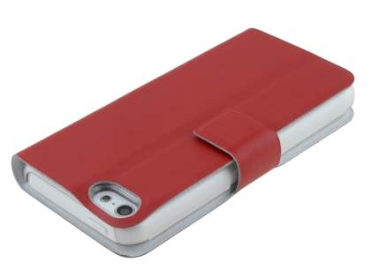 Genuine Leather Portfolio Case with Stand for iPhone 5c - Red