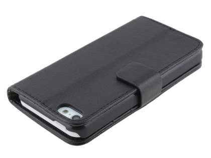 Apple iPhone 5c Slim Synthetic Leather Wallet Case with Stand - Classic Black