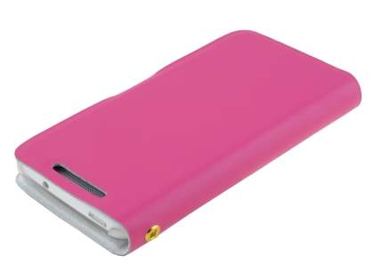 HTC One Mini M4 Slim Genuine Leather Portfolio Case - Pink