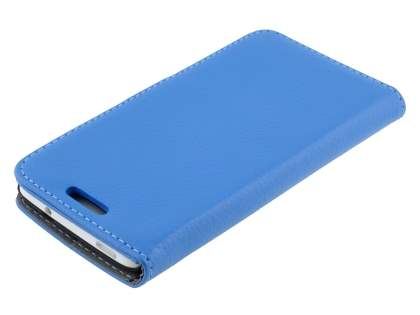 HTC One Mini M4 Slim Synthetic Leather Wallet Case with Stand - Blue