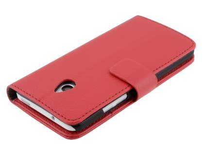 HTC One Mini M4 Slim Synthetic Leather Wallet Case with Stand - Red