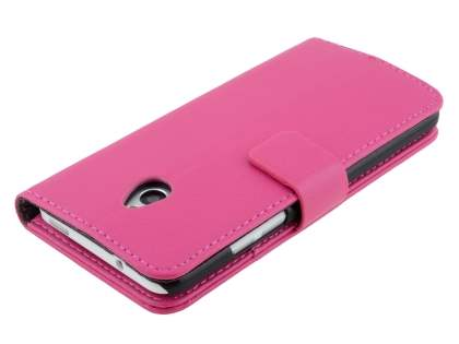 HTC One Mini M4 Slim Synthetic Leather Wallet Case with Stand - Pink