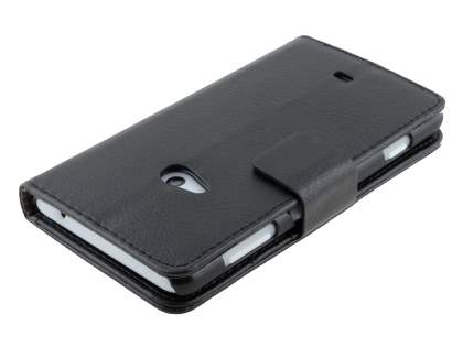 Nokia Lumia 625 Synthetic Leather Wallet Case with Stand - Classic Black