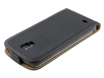 Slim Genuine Leather Flip Case for Samsung I9295 Galaxy S4 Active - Classic Black