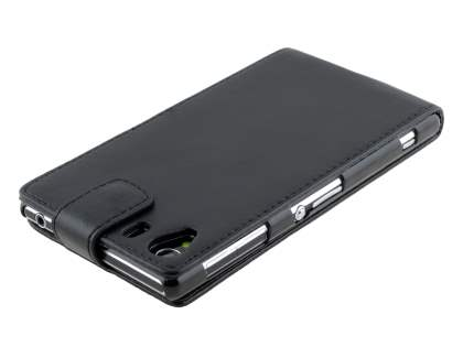Synthetic Leather Flip Case for Sony Xperia Z1 - Classic Black