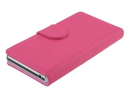 Sony Xperia Z1 Slim Synthetic Leather Wallet Case with Stand - Pink