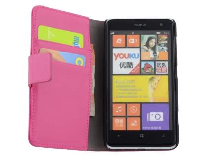 Nokia Lumia 625 Synthetic Leather Wallet Case with Stand - Pink