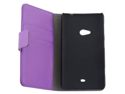 Nokia Lumia 625 Synthetic Leather Wallet Case with Stand - Purple