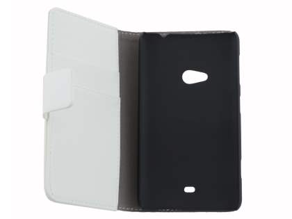 Nokia Lumia 625 Synthetic Leather Wallet Case with Stand - Pearl White