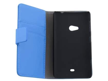 Nokia Lumia 625 Synthetic Leather Wallet Case with Stand - Blue