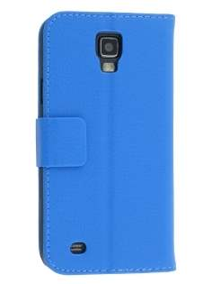 Synthetic Leather Wallet Case with Stand for Samsung Galaxy S4 Active I9295 - Blue Leather Wallet Case