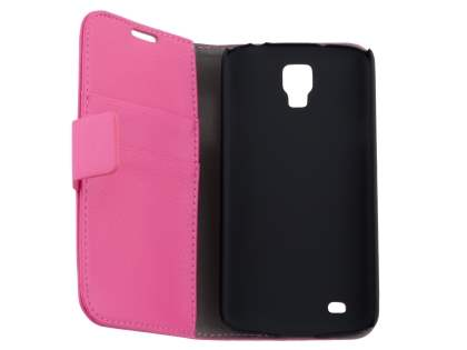 Samsung Galaxy S4 Active I9295 Slim Synthetic Leather Wallet Case with Stand - Pink