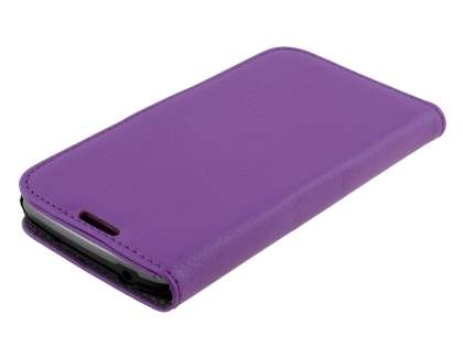 Synthetic Leather Wallet Case with Stand for Samsung Galaxy S4 Active I9295 - Purple