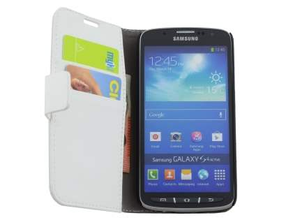 Synthetic Leather Wallet Case with Stand for Samsung Galaxy S4 Active I9295 - Pearl White