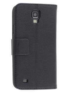Synthetic Leather Wallet Case with Stand for Samsung Galaxy S4 Active I9295 - Classic Black Leather Wallet Case