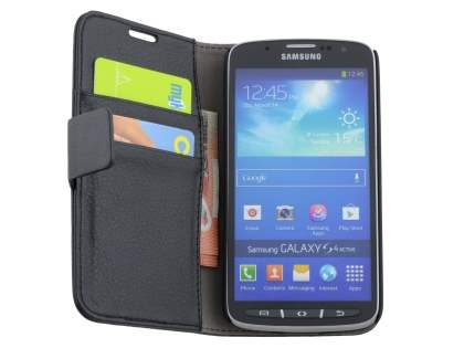 Synthetic Leather Wallet Case with Stand for Samsung Galaxy S4 Active I9295 - Classic Black
