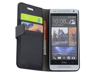 Synthetic Leather Wallet Case with Stand for HTC One Mini M4 - Classic Black