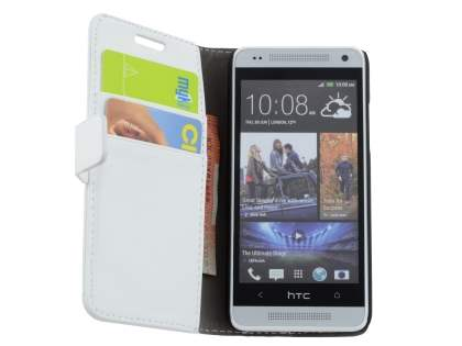 HTC One Mini M4 Slim Synthetic Leather Wallet Case with Stand - Pearl White