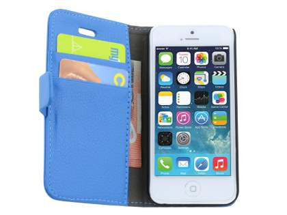 Apple iPhone 5c Slim Synthetic Leather Wallet Case with Stand - Blue