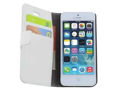 Apple iPhone 5c Slim Synthetic Leather Wallet Case with Stand - Pearl White