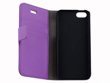 Synthetic Leather Wallet Case with Stand for iPhone 5c - Purple