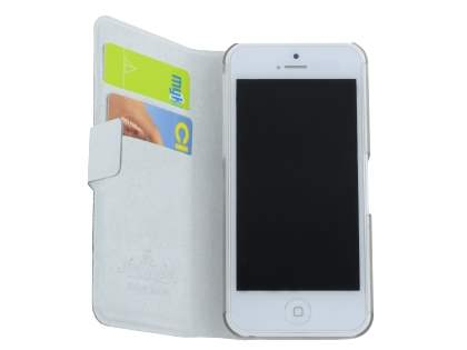 iPhone 5c Slim Genuine Leather Portfolio Case with Stand - Pearl White