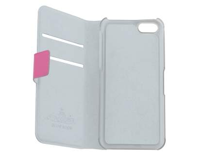 iPhone 5c Slim Genuine Leather Portfolio Case with Stand - Pink