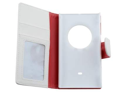 Nokia Lumia 1020 Slim Synthetic Leather Wallet Case with Stand - Pearl White
