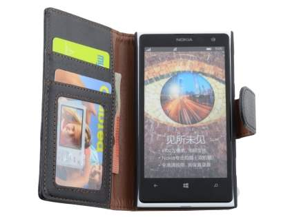 Nokia Lumia 1020 Slim Synthetic Leather Wallet Case with Stand - Classic Black