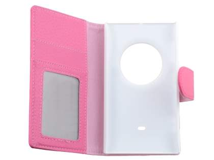 Nokia Lumia 1020 Slim Synthetic Leather Wallet Case with Stand - Pink