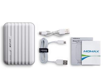 Momax iPower Go External Battery 8800mAh with Dual USB Sockets and LED Light - Pearl White