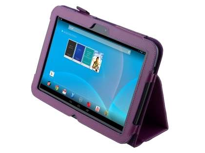 Synthetic Leather Flip Case with Fold-Back Stand for Samsung Google Nexus 10 - Purple Leather Flip Case