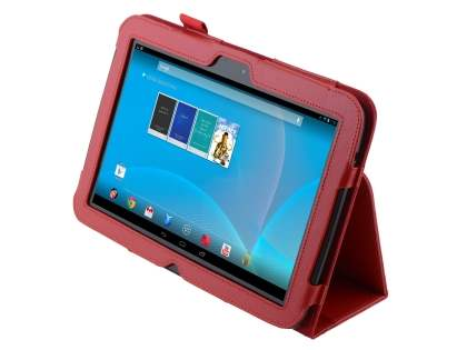 Synthetic Leather Flip Case with Fold-Back Stand for Samsung Google Nexus 10 - Red Leather Flip Case