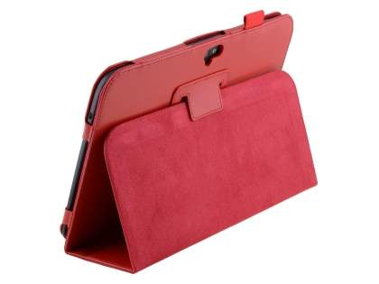 Samsung Google Nexus 10 Synthetic Leather Flip Case with Fold-Back Stand - Red