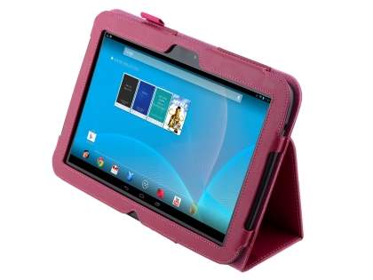 Synthetic Leather Flip Case with Fold-Back Stand for Samsung Google Nexus 10 - Raspberry