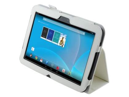 Synthetic Leather Flip Case with Fold-Back Stand for Samsung Google Nexus 10 - Pearl White Leather Flip Case