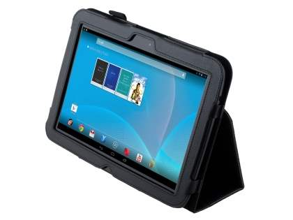 Synthetic Leather Flip Case with Fold-Back Stand for Samsung Google Nexus 10 - Classic Black Leather Flip Case