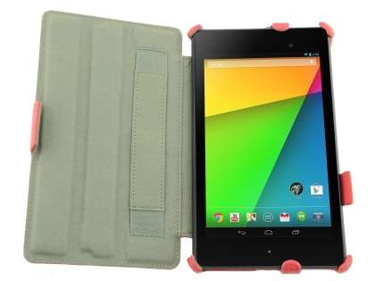 Premium Asus Google Nexus 7 2013 Slim Synthetic Leather Flip Case with Multi-Angle Tilt Stand - Red