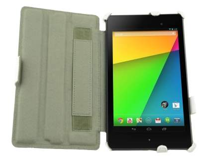 Premium Asus Google Nexus 7 2013 Slim Synthetic Leather Flip Case with Multi-Angle Tilt Stand - Pearl White