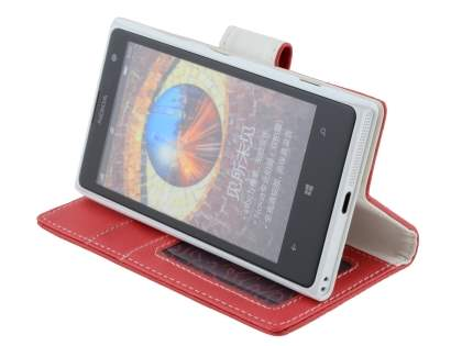 Nokia Lumia 1020 Slim Synthetic Leather Wallet Case with Stand - Red