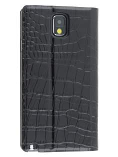 TS-CASE crocodile pattern Genuine leather Wallet Case for Samsung Galaxy Note 3 - Classic Black Leather Wallet Case