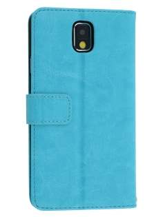 Synthetic Leather Wallet Case with Stand for Samsung Galaxy Note 3 - Aqua Blue Leather Wallet Case