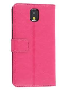 Synthetic Leather Wallet Case with Stand for Samsung Galaxy Note 3 - Pink Leather Wallet Case