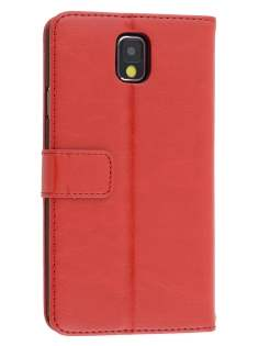 Synthetic Leather Wallet Case with Stand for Samsung Galaxy Note 3 - Red Leather Wallet Case