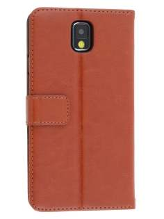 Synthetic Leather Wallet Case with Stand for Samsung Galaxy Note 3 - Brown Leather Wallet Case