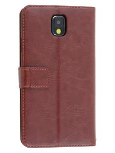 Synthetic Leather Wallet Case with Stand for Samsung Galaxy Note 3 - Chocolate Leather Wallet Case