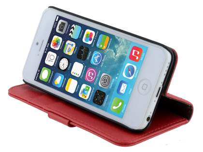 Apple iPhone 5c Slim Synthetic Leather Wallet Case with Stand - Red